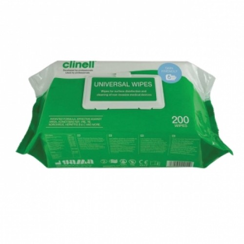 Clinell Universal Sanitising Wipes Flowrap Pack (200 pcs)