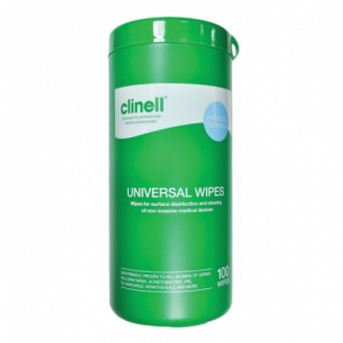 Clinell Universal Sanitising Wipes Canister (100 pcs)